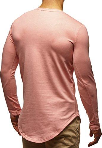 LEIF NELSON Herren Basic Pullover Hoodie Sweatshirt Longsleeve Rundhals Langarm Sweater Shirt Hoody LN6367 Lachsrosa