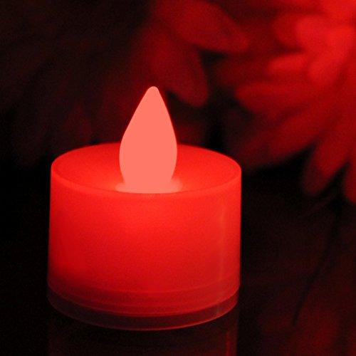 12 Lumini LED Rossi - Candele senza Fiamma, Tea Lights a Batteria con Fiamma Tremolante per Festa Matrimonio di PK Green