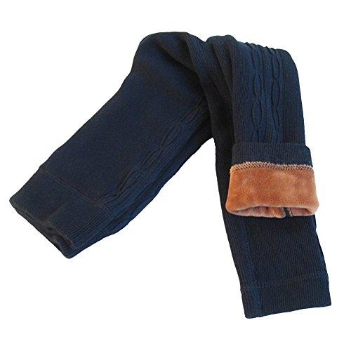Winter Leggins Thermo Leggings Hose Warm Fleece Strumpfhose Futter Baby Mädchen 3 bis 8 Jahre alt (dunkel blau, XL)