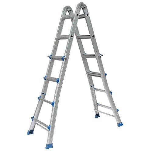 Homgrace Teleskopleiter Aluminium Schiebeleiter Aluleiter Klappleiter Mehrzweckleiter, höhenverstellbar als Anlegeleiter, Bockleiter, Stehleiter, Treppenleiter (4 x 6 Sprossen, 6,25M)
