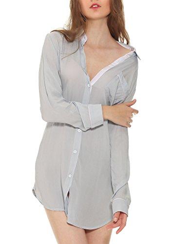 Yulee Femme Pyjama Bouton Chemise Sexy Vêtements De Nuit 1 Pcs