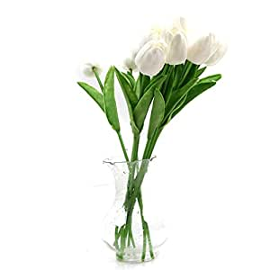 HENGSONG 10Pcs Tulipano Impianto Casa Decorazione Artificiale Per Matrimonio Party Casa (Bianco)