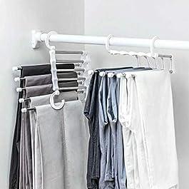 JIJI886 Appendiabiti Gancio Appendini Pieghevole in Acciaio Inox Antiscivolo Usato per Pantaloni/Scialli/Sciarpe Etc Appendiabito Magic Hanger Clothes Hook