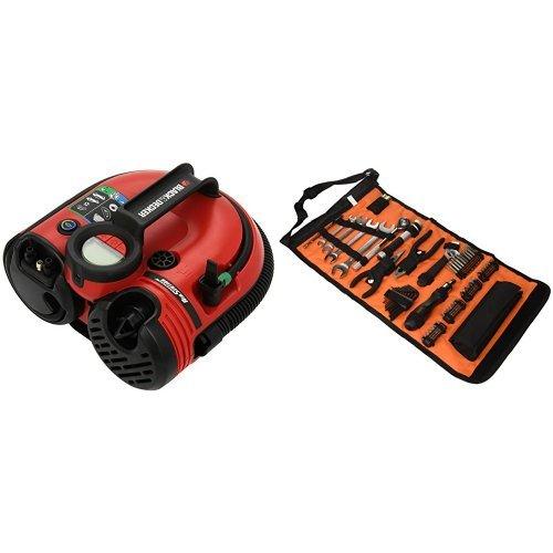 Black+Decker Akku-/12V-Kompressor / Luftpumpe + Handliche Rolltasche mit Autowerkzeugzubehör