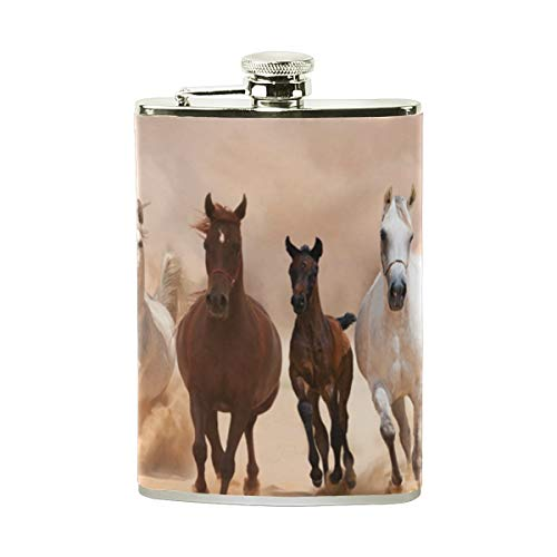 FGRYGF Horses Running On The Sand Storm Stainless Steel Flachmann,Pocket Flagon,Camping Wine Pot,Gift for Men or Women