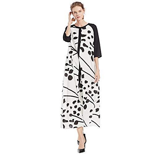 Elecenty Damen Vintage Maxikleid Frauen England Lose Leinenkleid Partykleid Mode Herbstkleid...
