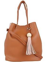 Fur Jaden Pink & Tan Bucket Sling Bag For Women
