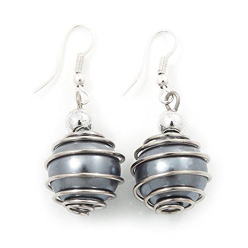 Orecchini pendenti in argento placcato con finta perla grigia, lunghezza 4 cm
