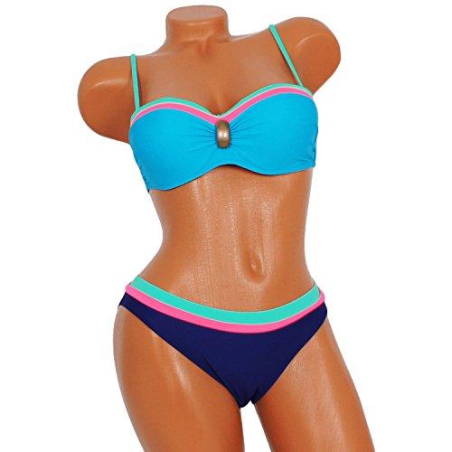 ... Damen Bikini Badeanzug Damenbikini Bandeau Set Laguna 40 - 48 Sheney  Pink ...