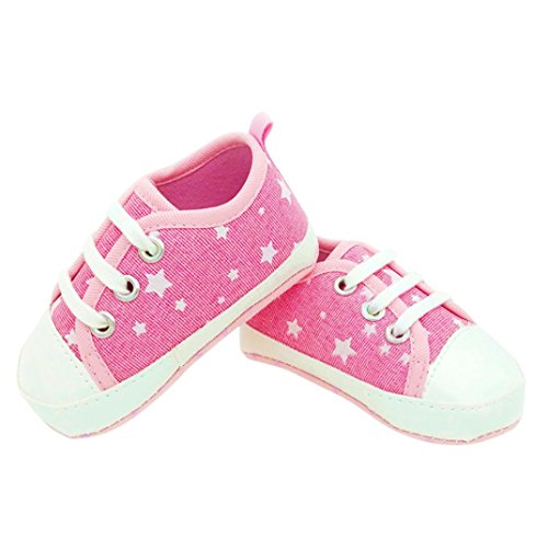 Babyschuhe Longra Baby Mädchen Krabbelschuhe Säugling Sneaker Anti-Rutsch Soft Sole Espadrilles Kleinkind Segeltuch-Lauflernschuhe (0 ~ 12 Monate) Pink