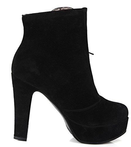 YE Damen Wildleder Nubuck High Heels Stiefeletten Plateau mit Blockabsatz und Schnürung 12cm Absatz Ankle Boots Schwarz