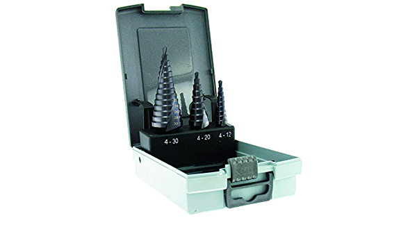 Tivoly 11448770001 FCE 430 Set of 3 Metal Conical Step Drill Bits HSS Cobalt 5/% TiAlN Coated Diameter 4-12//4-20//4-30 mm