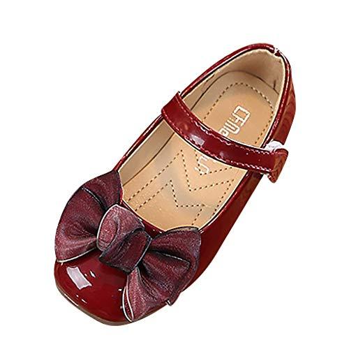 Dtuta Kinder MäDchen Bogen Prinzessin Schuhe Single Schuhe Sandalen Nette SchöNe Einfache Einfarbig Komfort Weiche Klett Lackleder Dance Performance Schuhe