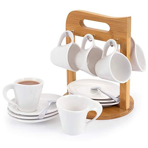 SOPRETY Kaffeetassen Set mit Untertassen und Bambus Ständer 6er Espresso-Tassen 100ml für 6 Personen Kaffeeservice Teeservice