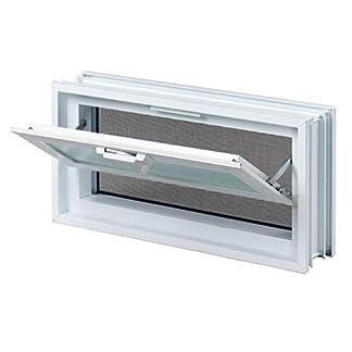 Ventana practicable: para el montaje en la pared de bloques de vidrio – 579x189mm, en lugar de 3 bloques de cristal 19x19x8 cm, horizontal