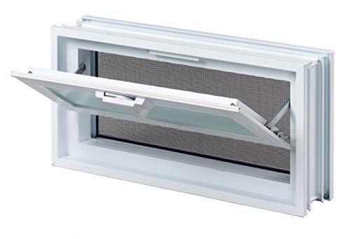FUCHS Lüftungsfenster anstatt 2 Glassteine im Format 24x24x8 cm - mit Fliegengitter (Fenster Sauna)