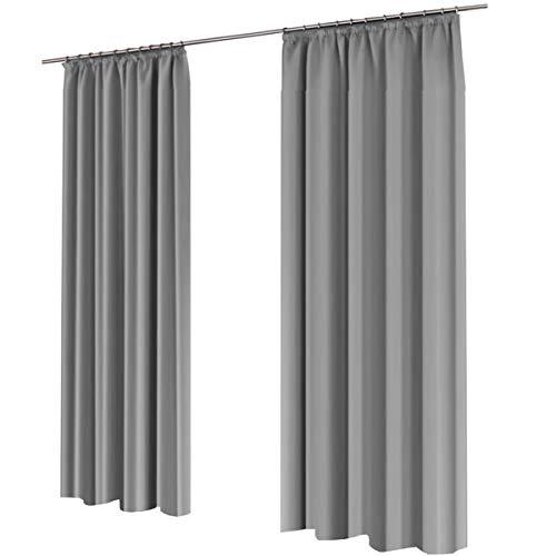 Gräfenstayn alana - tenda oscurante terminca, ca. 135 x 245 cm, con attacco universale arricciato grigio