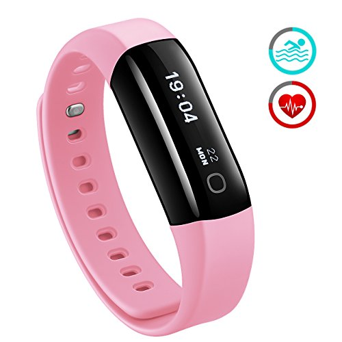 Waterproof Fitness Tracker, Mpow Heart Rate Monitor Waterproof for Swimming Activity Tracker Pedometer Smart Bracelet Wristband Sleep Monitor Smartwatch for Android & iOS, Pink