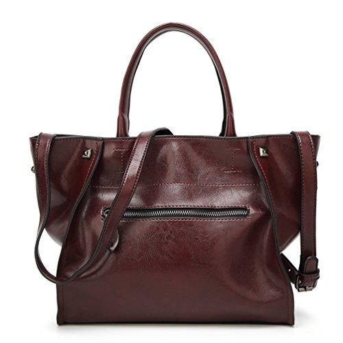 YiLianDa PU Pelle Borsa Donna Cuoio Borsa Tote a Mano a Spalla Manico Top-Handle Handbag come immagine(4)