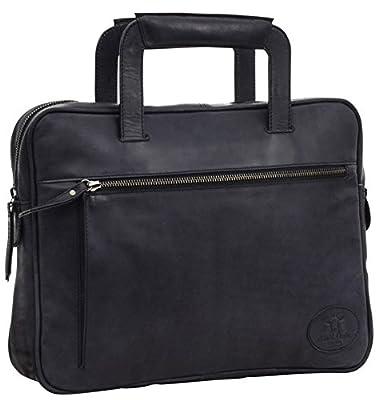 """Gusti cuir studio """"Lea"""" sac d'ordinateur portable 13"""" sac à à main en cuir avec anse sac bureau en cuir sacoche ordinateur en cuir homme femme cuir de chèvre gris foncé 2H64-29-6"""