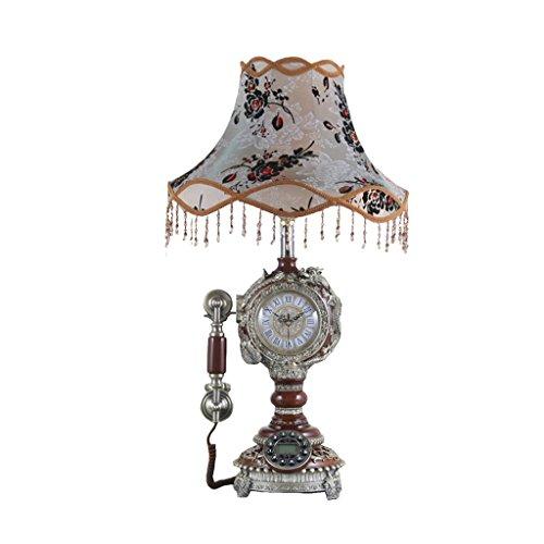 JILAN HOME Telephone- Telefon-französische Harz-amerikanische Spitze-Tischlampe Retro- antiker Haushalts-Festnetztelefon mit Uhr Welcome ( Farbe : Braun ) (Schnurgebundenes Spitze)
