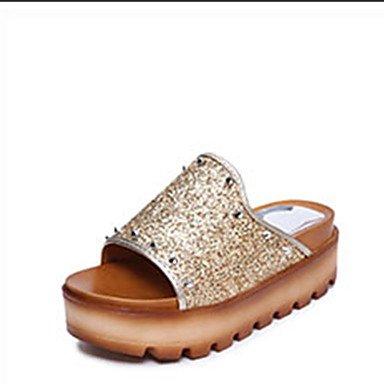 LQXZM La femme Chaussons & amp; tong sandales Printemps Été PU Confort Rivet décontracté Talon plat Noir Argent Or Télévision Gold