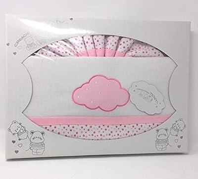 Sabanas De Cuna De franela - 100% algodon (bajera. encimera y funda de almohada)- Color Blanco-rosa-Danielstore
