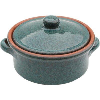 Amazing Cookware 1 Litre Terracotta Casserole Dish, Peacock Green