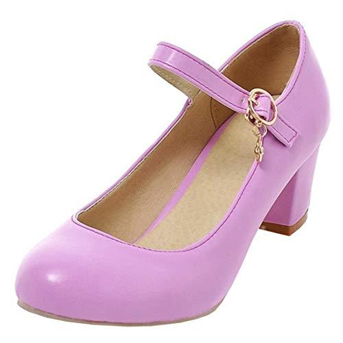 UH Damen High Heels Mary Jane Pumps mit Blockabsatz und Riemchen 6cm Absatz Kleid Schuhe (Lila High Heels)