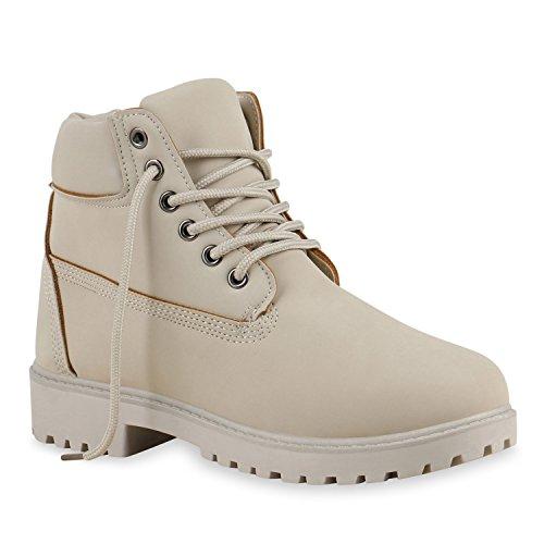UNISEX Damen Herren Worker Boots Profil Sohle Stiefeletten Outdoor Schuhe Creme Creme