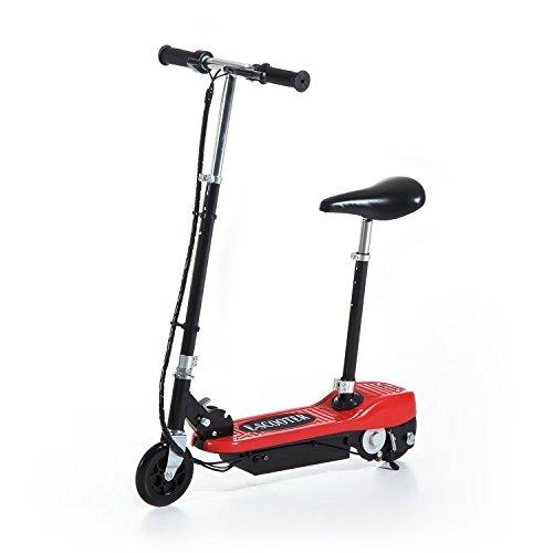 HOMCOM Patinete Eléctrico Plegable para Niño E-Scooter Batería 120W Manillar Asiento Ajustable Freno Pie de Apoyo 2 Colores para Adolescentes(Rojo)