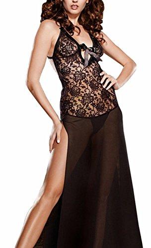 Awake Frauen Plus Size See Durch Lace Lingerie Kleid Maxi Long Kleid Set (Fringe Kleid Plus Größe)