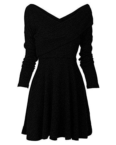 Minetom Damen Herbst Winter Strickkleid Casual Langarm Tunika Kleid Basic V-Ausschnitt Minikleid A-Linie Jumper Kleider Schwarz DE 42