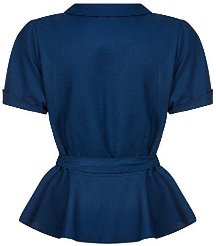 Collectif Damen Bluse Phoebe Peplum Vintage Oberteil Blau XL - 3