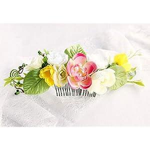 Boho Blumenhaarkamm in Creme Gelb und Rosa