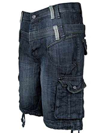 Mens Denim Jean/ Cargo Shorts Vintage Blue Raw Washed S/30 ...