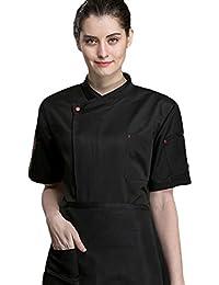 Dooxii Unisexo Mujeres Hombre Verano Manga Corta Camisa de Cocinero Transpirable Chaquetas de Chef Uniforme Cocina Restaurante Occidental