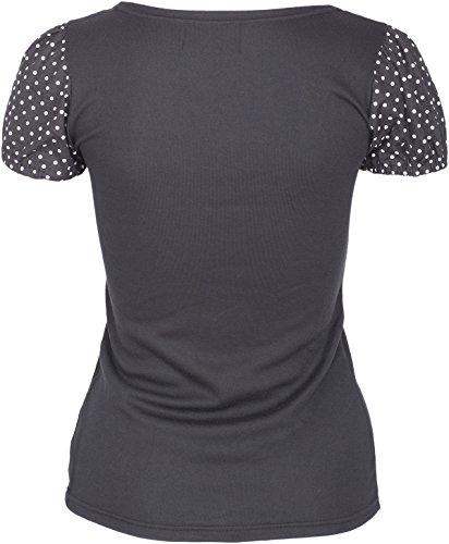 Küstenluder ALYSSA Polka Dots PUNKTE Sleeve LACE V-Neck Vintage SHIRT Rockabill -