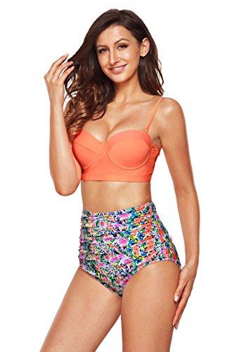 Size Bikini Bademode Plus (EasyMy Damen Hohe Taille Bikini Vintage Bademode, Mehrfarbig, EU 44-46Tag Size 3XL)