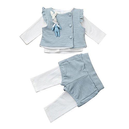 Longra 3PCS Neugeborene Baby Mädchen Häschen-Weste + Rüsche Langarmshirts + Hosen Baby Prinzessin Kleidung Sets(0 -18 Monate) (80CM 6Monate, (Kostüme Anzug Häschen)