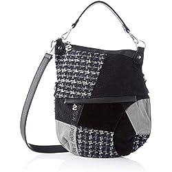 Desigual Bag Liberté Patch Folded, Bolso para Mujer, Negro (Negro), 35.5 x 3 x 31 cm (B x H x T)