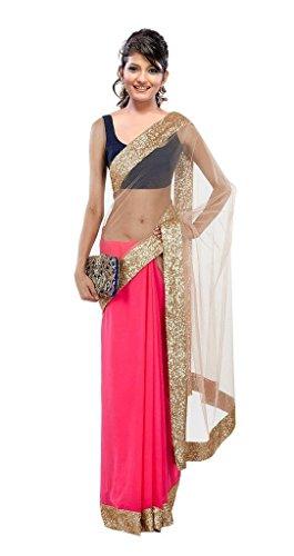 Janasya Chiffon Saree (Jne0297.Pik_Pink)