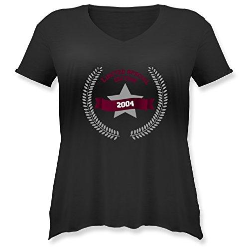 Geburtstag - 2004 Limited Special Edition - Weit geschnittenes Damen Shirt in großen Größen mit V-Ausschnitt Schwarz