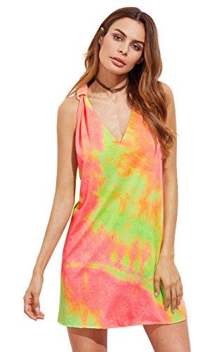 ROMWE Damen Tie-Dye Strandkleid V Ausschnitt Regenbogen Farbstoff Pastell Sommerkkleid Tank-Kleid (XL, Grün Bunt) (Tank Kleid Grün)
