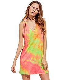 ROMWE Damen Tie-Dye Strandkleid V Ausschnitt Regenbogen Farbstoff mit Knotendetails Ärmellos Sommerkleid Trägerkleid