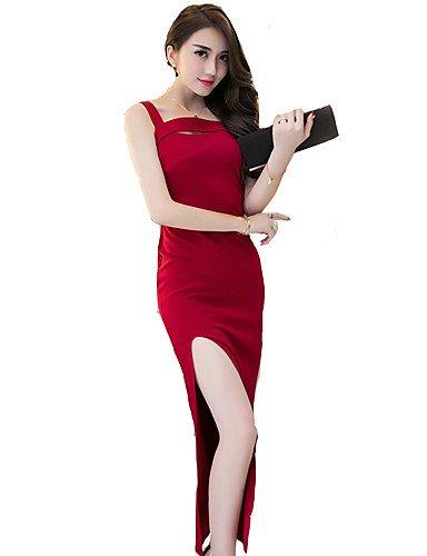 PU&PU Robe Aux femmes Moulante Simple,Couleur Pleine A Bretelles Maxi Polyester RED-2XL