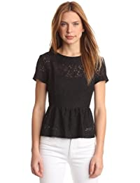 French Connection - Top peplum de encaje de manga corta para mujer