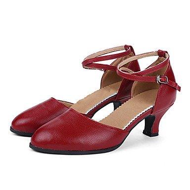 Silence @ Chaussures de danse pour femme en cuir moderne Talon cubain Noir/rouge/argenté/doré doré