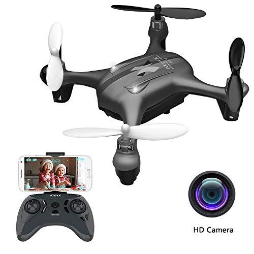 ATOYX AT-96 FPV Mini Drohne, RC Quadcopter HD Wi-Fi Kamera Live Video mit Höhenhalte-Funktion Headless Mode 3D Flips One Key Take Off/Landing Einfache Bedienung für Kinder Anfänger (schwarz) -
