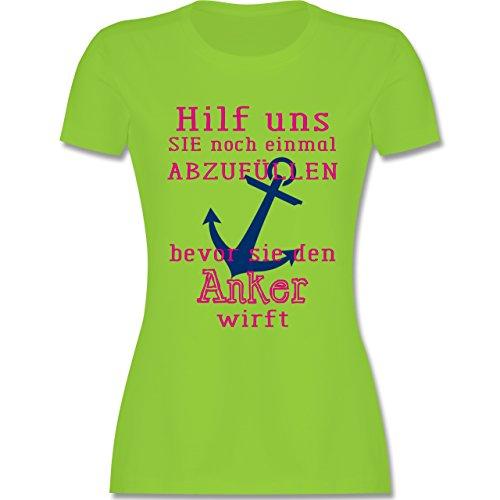 JGA Junggesellinnenabschied - Hilf uns sie abzufüllen - tailliertes Premium T-Shirt mit Rundhalsausschnitt für Damen Hellgrün